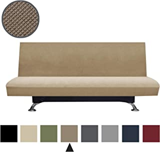 Binztec 1-Pieces Futon Cover Knitted Jacquard Spandex Sofa Slipcover Stay in Place Super Rich Furniture Cover/Protector, Skid Resistance (Light Brwon,Futon) …