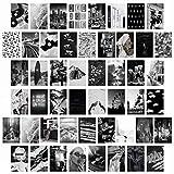 BeYumi 50 Stück Collage Card Schwarz und Weiß ästhetische Bilder, Indie Wanddeko, Teenager-Jungs Mädchen Schlafsaal Raumdekoration Fotosammlung Foto-Wand Poster Set (4x6 Zoll)