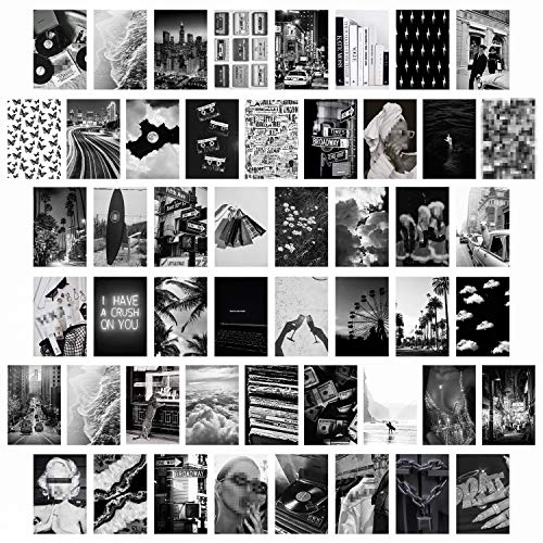 50 Schwarzweiße ästhetische Bilder für Wandcollage, schickes Collagen Druckset, Raumdekoration für Mädchen, Vintage Wandkunstdrucke für Zimmer, Schlafsaal Foto Display, VSCO Wall Poster für Bar