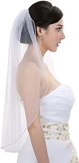 SAMKY 1T 1 Tier Pearls Bugle Beaded Bridal Wedding Veil