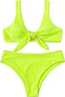 SweatyRocks Women`s Sexy Bikini Swimsuit Tie Knot Front Swimwear Set
