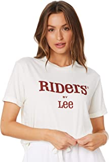 Riders By Lee Women's Relaxed Tee Crew Neck Short Sleeve Cotton Natural