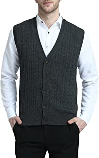 Relaxed Fit Mens V-Neck Cable Knit Cashmere Sweater Vest with Front Button