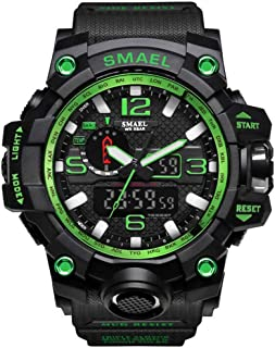 SMAEL Boy's Military Watch, Big Face Sports Watch Army Style Multifunctional Wrist Watch for Youth - green