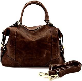 La Poet Women's Waxed Cowhide Leather Satchel Handbags Shoulder Bag Top-Handle