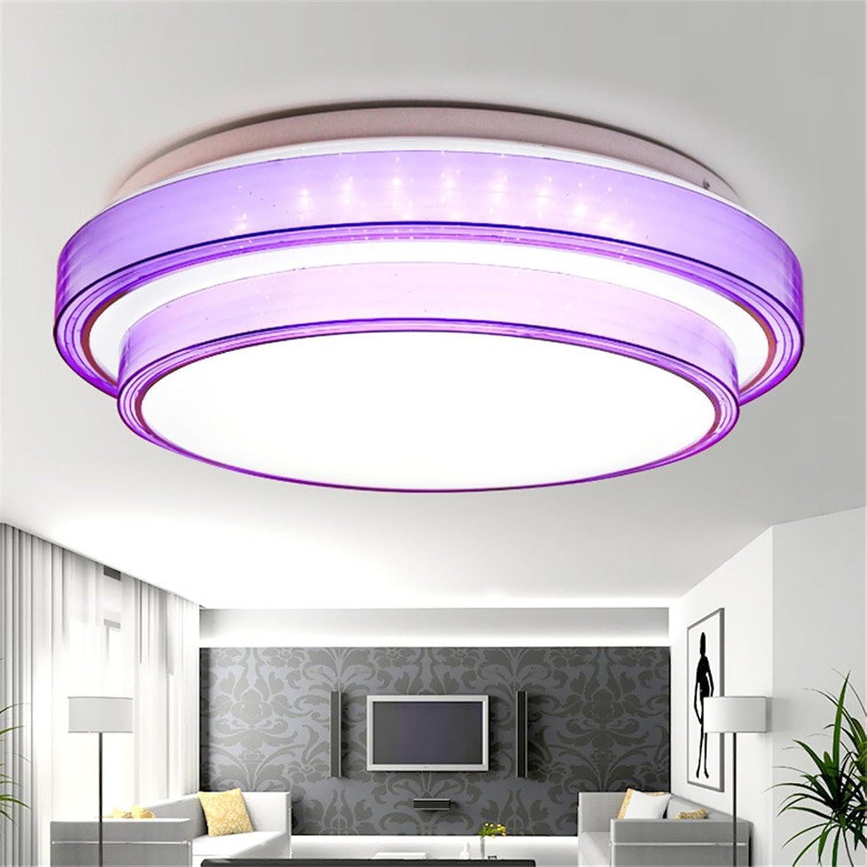 DengWu Plafonniers Moderne, simple, ronde, chaude, plafonnier, éclairage, salle, chambre, fille, chambre, chambre, lampe, couleur, acrylique, lampe, violet, diamètre, 500mm
