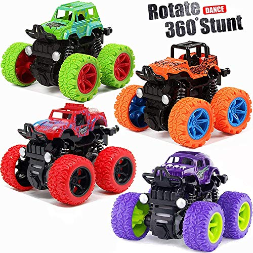 Monster Trucks Toy Cars for 3 4 5 6 7 8 Years Old Boys, 4 Pack Pull Back Vehicles Cars Toys for Kids Toddler Birthday Christmas Party Supplies Gift