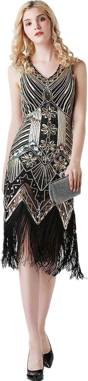 SAMACHICA Women's Flapper Dress 1920s V Neck Beaded Fringed Gatsby Theme Roaring 20s Dress for Prom