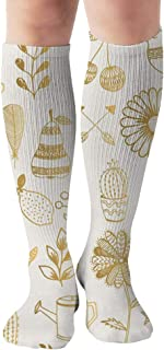 Hand Drawn Tattoo Designs Gold Men and Women Compression Knee Socks High Fitness Novelty Stockings 50Cm Stylish Design