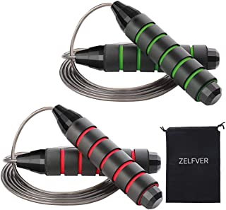 ZELFVER Skipping Rope, 100% Tangle Free Jump Rope with Dual Ball Bearings, Ideal for Aerobic Exercise Like Speed Training,...