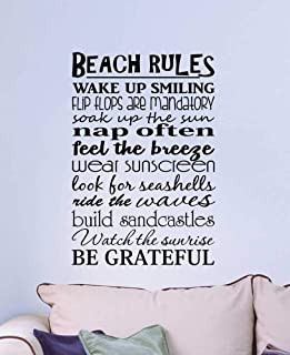 Yilooom Beach Rules Wake Up Smiling Flip Flops are Mandatory Soak Up The Sun, Ocean Inspired Vinyl Wall Decal Lettering Saying Quote Art 22 Inch in Width