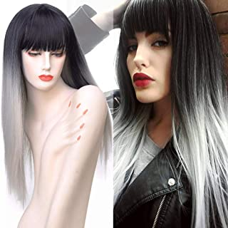 BE 26inch Long Straight Wig with Bangs Ombre Black/Grey Synthetic Hair