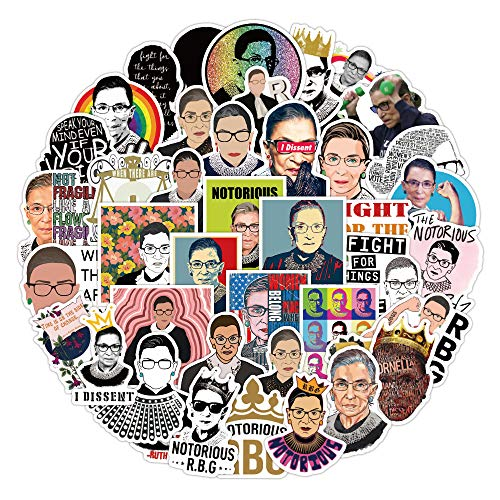 Notorious RBG 50 pcs Sticker Justice Ginsburg Stickers Pack Cool Laptop Vinyl Waterproof Decal for Office Water Bottle Scrapbook Skateboard Moto Bicycle Luggage Label Graffiti Patche for Teen Kid