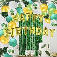 パーティーの装飾 11 ピース/セットグリーン風船テーマ装飾人工葉見掛け倒し箔カーテンフリンジ背景誕生日ベビーシャワー用品