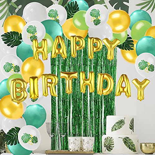 Party Decorations 11Pcs/Set Green Balloons Theme Decoration Artificial Leaf Tinsel Foil Curtain Fringe Backdrop for Birthday Baby Shower Supplies