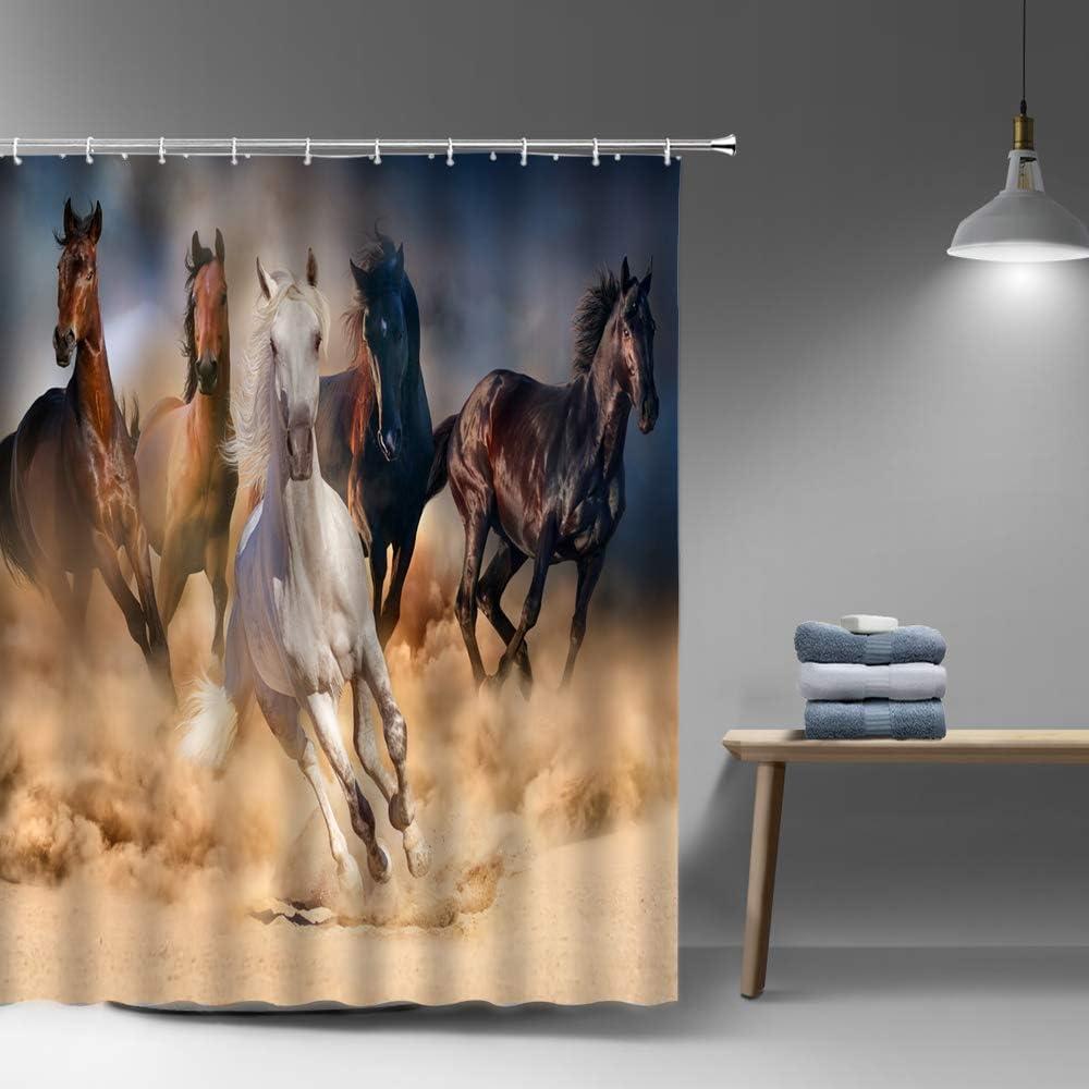 Lileihao lowest price Horse Shower Curtain Running Wat Cheap Animal Strong Bathroom