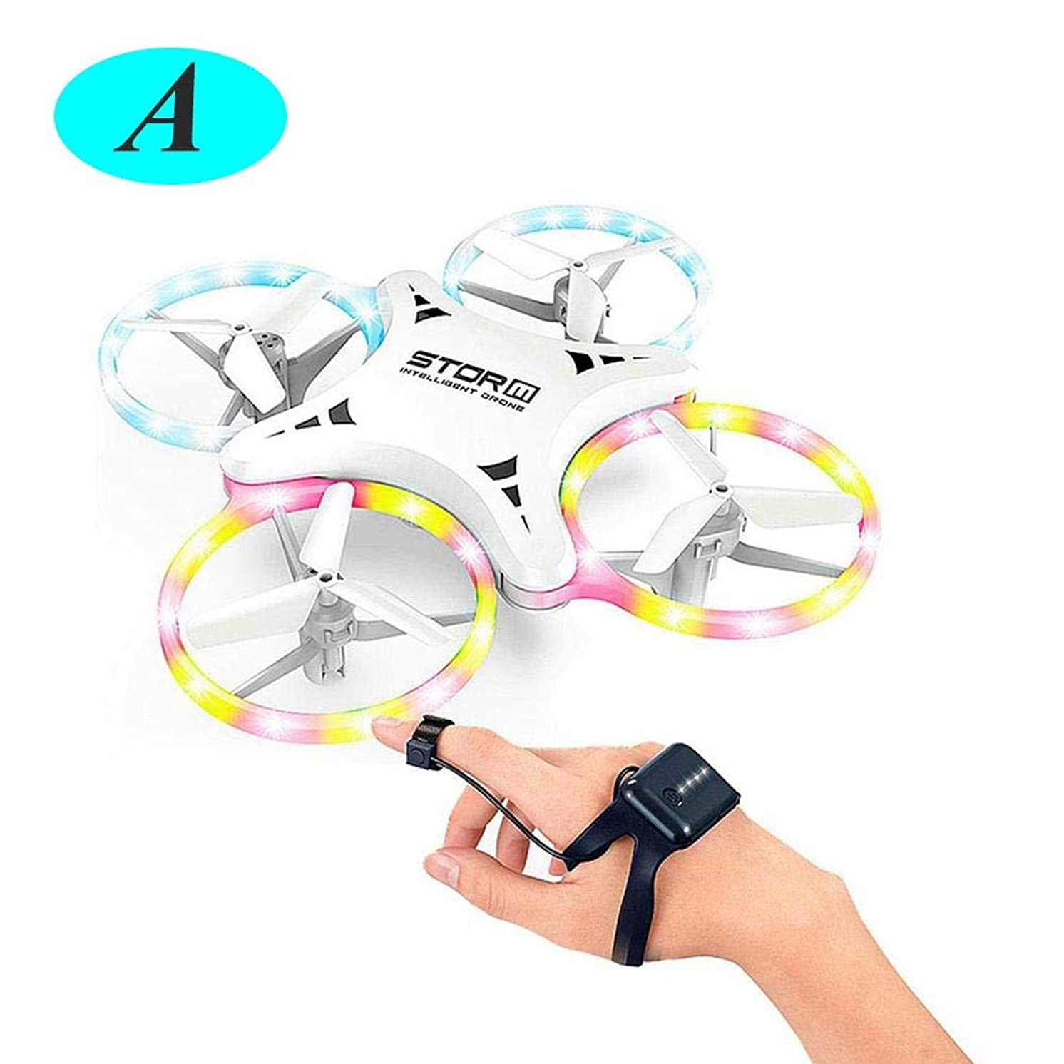 LianLe Mini Drone for Kids - UFO LED 4 Color Light Drones for Kids, Small Drones for Beginners W/ 4 Mini Quadcopter Batteries and Easy Toy Drone Remote Control