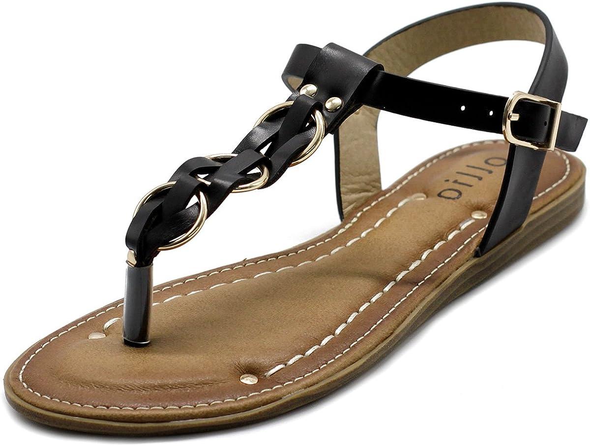 Ollio Women's Shoes T-Strap Burnish Fade Vintage Zori Flats Sand