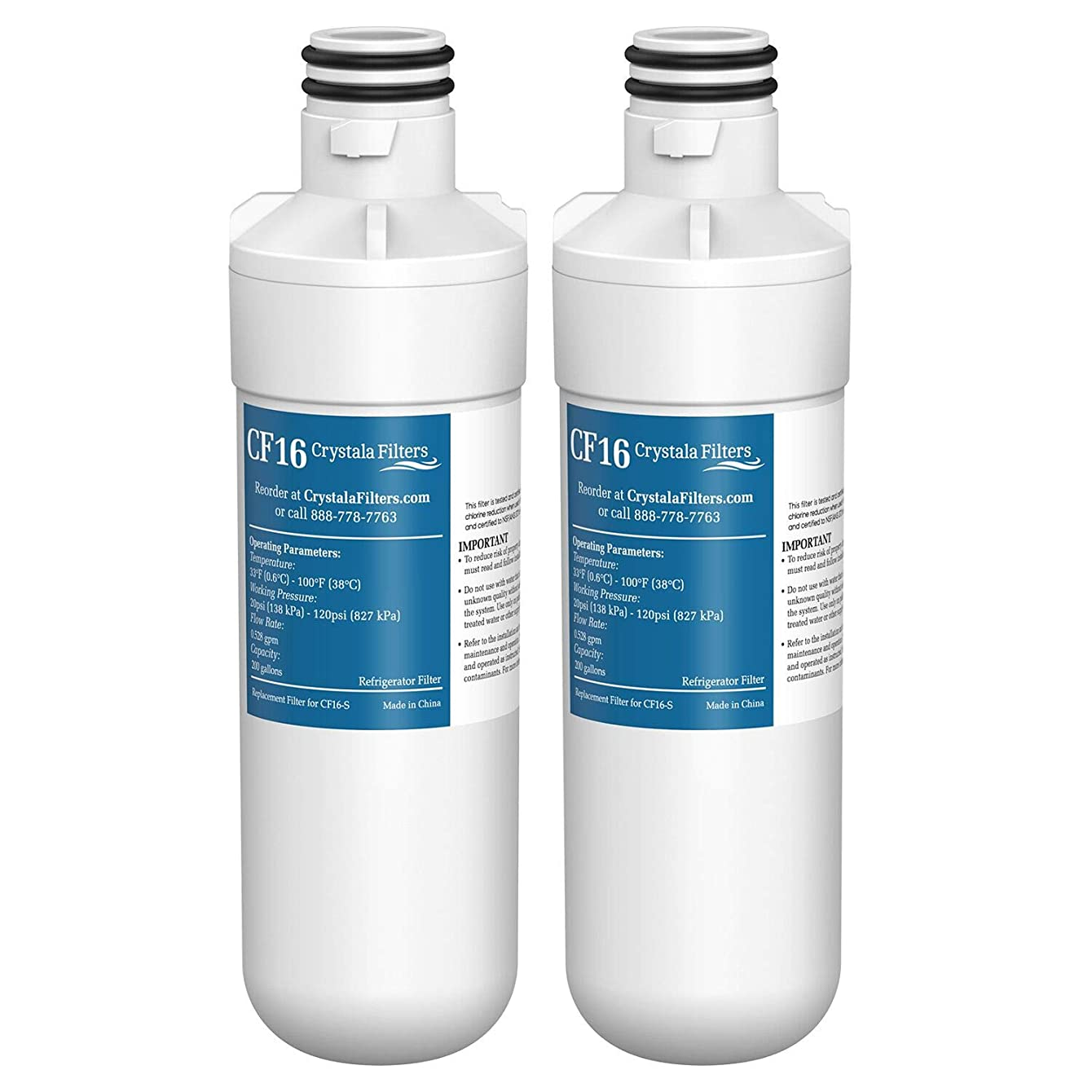 LT1000P Refrigerator Water Filter, Compatible with LG LT1000P, LT1000P, LT1000PC, MDJ64844601, ADQ74793501, ADQ74793502, Kenmore 46-9980, 9980, by Crystala Filters, 2 PACK