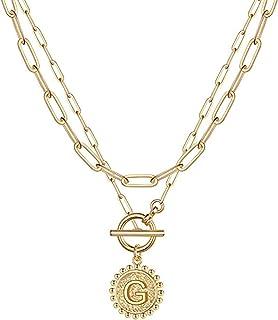 Buhui - Collana da donna con 26 lettere, placcata in oro 14 carati, con chiusura a catenina, con ciondolo a forma di alfabeto