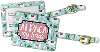 Alpaca My Bags Cactus Sky Blue and Green 6 x 4 Faux Leather Buckle Luggage Tag