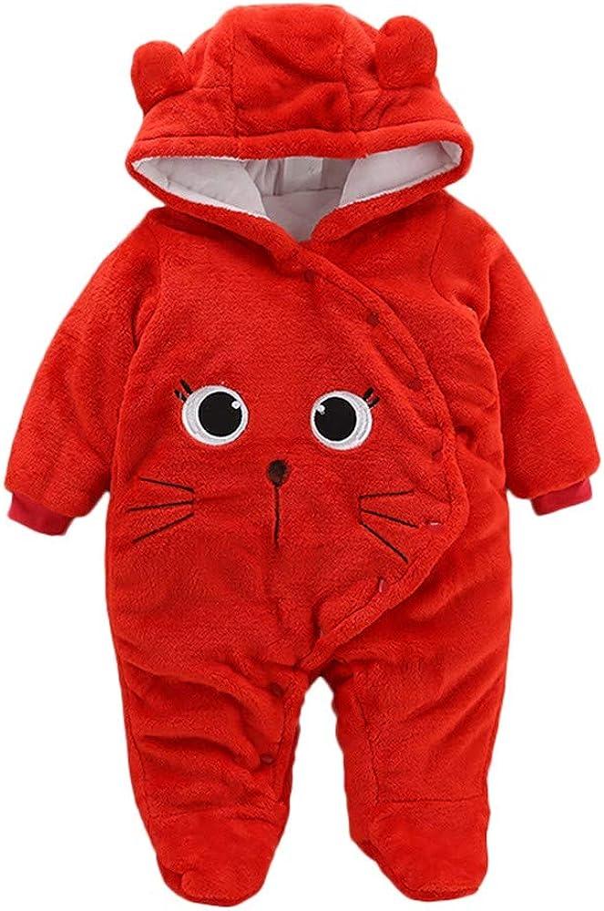 WUAI Newborn Baby Fleece Footed Oakland Mall Jumpsuit Car Sales Pram Thicken Winter