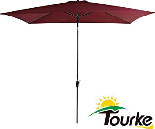 Tourke 10 x 6.5 Ft Patio Table Umbrella Outdoor Umbrella with Push Button Tilt and Crank, 6 Steel Ribs, for Garden, Deck, Backyard, Swimming Pool and More (Wine)