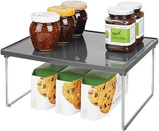 mDesign étagère cuisine en plastique et métal – rangement cuisine autoportant pour plan de travail et placard de cuisine –...