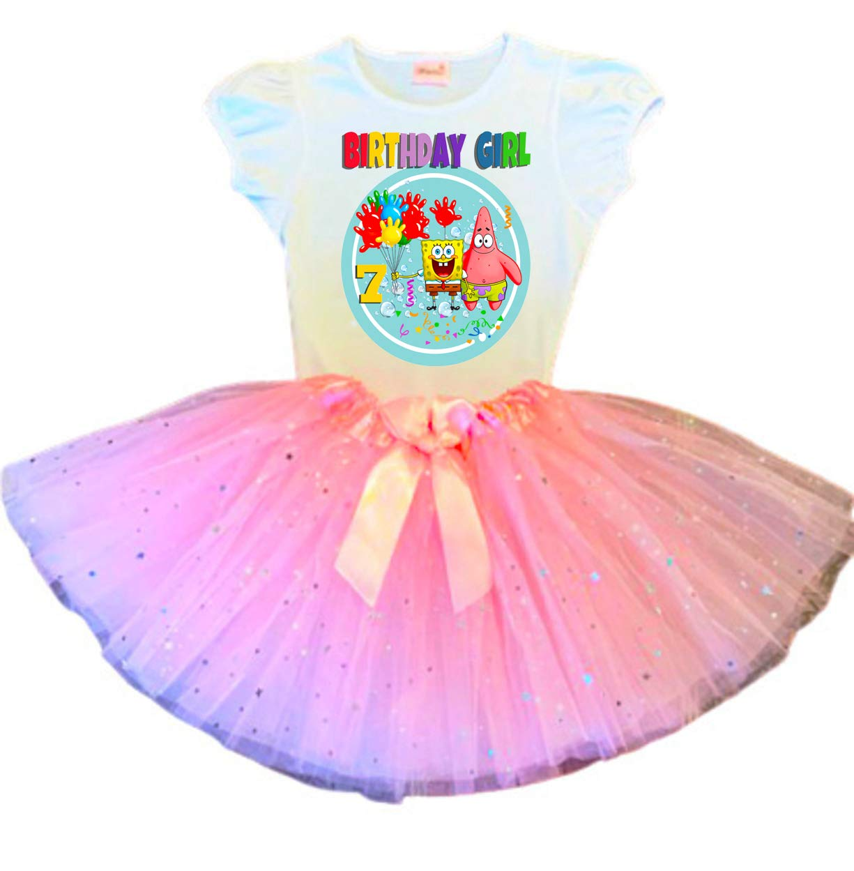 Spring new work SpongeBob Birthday Tutu 7th Pink Max 74% OFF Dress Outfi Party