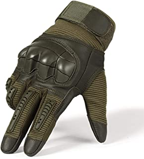 Full Finger Tactical Army Gloves Military Paintball Shooting Airsoft Bicycle Combat PU Leather Touch Screen Rubber Hard Knuckle Men's Gloves