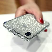Fusicase for iPhone X/XS Case Bumper Frame Case Luxury Bling Artificial Diamond Crystal Rhinestone Sticker Protective Electroplate Aluminum Metal Edge Bumper Case for iPhone X/XS Silver