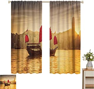 Sailboat Nautical Decor Collection Curtain for Kids Room Sunset Skyline of Hong Kong with Traditional Cruise Sailboat at Victoria Harbor Image Colorful Heat Insulation Curtain W63 x L72 Red