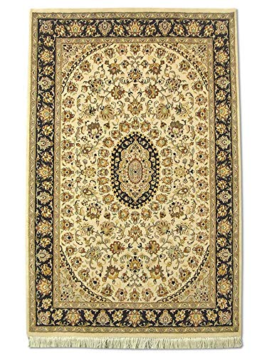 Pak Persian Rugs handgeknoopt Kashan tapijt, crèmekleurig, wol, small, 121 x 188 cm