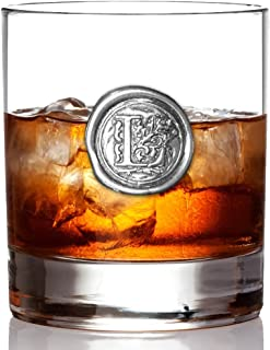 English Pewter Company 11oz Old Fashioned Whiskey Rocks Glass With Monogram Initial - Unique Gifts For Men - Personalized Gift With Your Choice of Initial (L) [MON112]