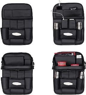Autofurnish 3D Car Auto Seat Back Multi Pocket Storage Bag Organizer with Car Meal Tray-(Black)-Set of 2