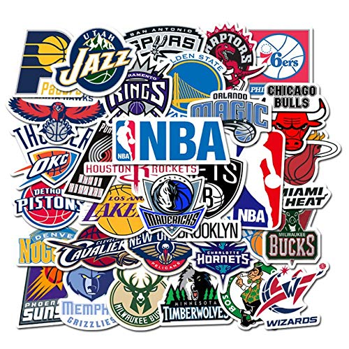 XIAMU Etiqueta engomada del Emblema del Equipo de Baloncesto de la NBA Taza de Agua Monopatín Equipaje Cuaderno Graffiti Etiqueta Impermeable 32 Piezas