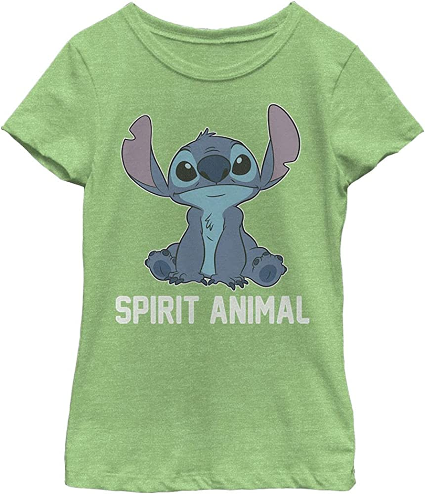 Disney Lilo & Stitch Stitch Spirit Animal V2 Girl's Heather Crew Tee