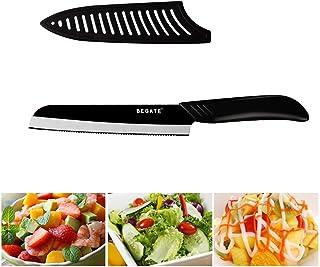 Couteau en céramique dentelée Couteau à pain ABS + TPR poignée noire Lame Santoku Couteau de cuisine Accessoires de cuisso...