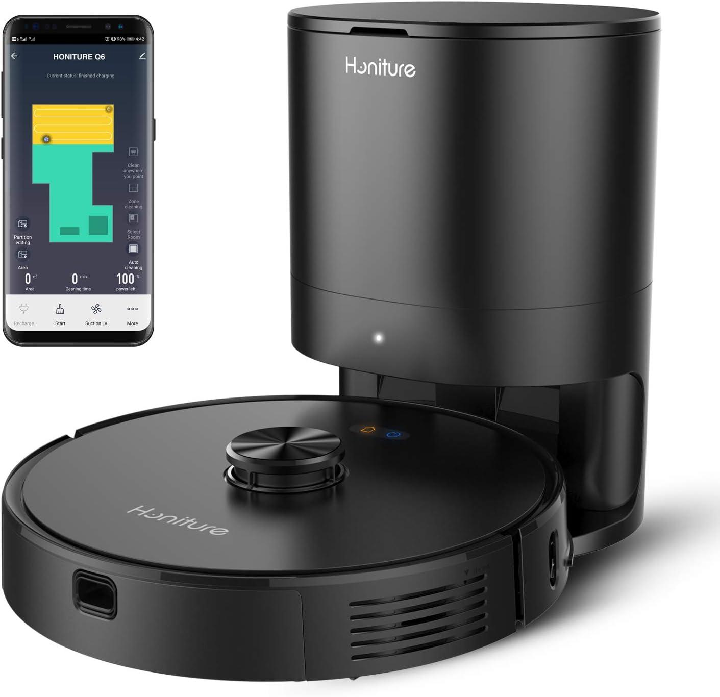 Robot Aspirador,Honiture Q6 WiFi Robot Aspirador y fregasuelos 2700Pa,Vaciado Auto,Navegación Láser,Control por App y Alexa para Alfombras y Madera Dura