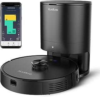 Aspirateur Robot,HONITURE Q6 Robot Aspirateur Laveur,2700 Pa,Cartographie et Navigation Laser, avec Poubelle à Auto-vidag...