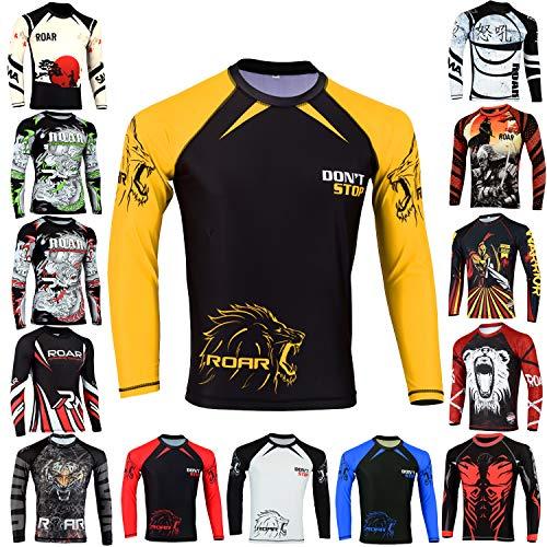Roar BJJ Rash Guards MMA Grappling Jiu Jitsu Training No Gi Fight Wear Shirt UFC (Yellow, Medium)