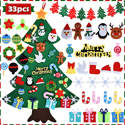 DIY Felt Christmas Tree 33 Pcs Xmas Decorations with Banner Snowflake Snowman Reindeer Candy Crutch Wall Hanging Christmas Decoration Gift for Kids Christmas New Year Party Favors