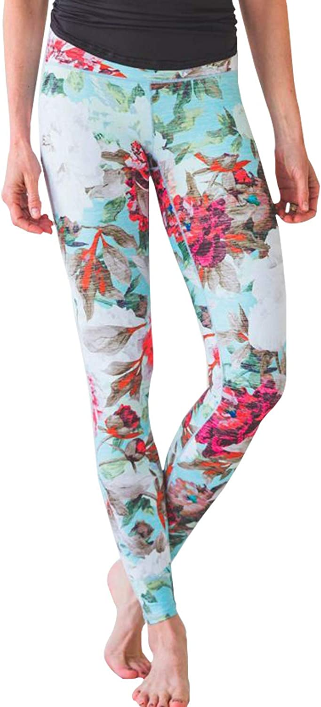 Teal Floral Leggings For Women