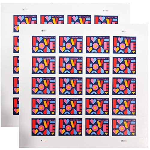Love 2021 Forever Postage Stamps 2 Sheets of 20 US Postal First Class Valentine Wedding Celebration Anniversary Romance Party (40 Stamps)