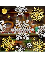 Lifetree 145 Stuks Kerst Sprankelende Sneeuwvlok Raamstickers Verwijderbare Decoraties Statische Cling Sneeuw Stickers voor Thuiskantoor Zilver Goud
