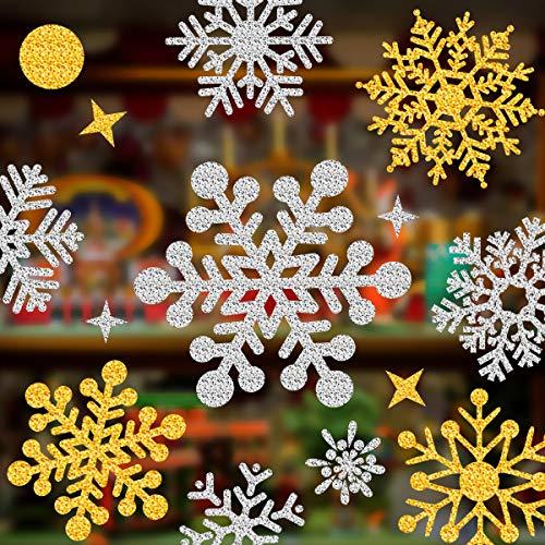 Lifetree 145 Stück Weihnachten Funkelnde Schneeflocken-Fensteraufkleber Abnehmbare Dekorationen Static Cling Snow Aufkleber für Home Office Silber Gold