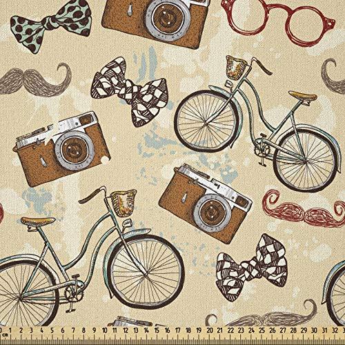 ABAKUHAUS Bicicleta Tela por Metro, Inconformista Temático Gentleman, Microfibra Decorativa para Artes y Manualidades, 3M (230x300cm), Multicolor