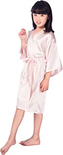 Children's Silk Stain Pure Kimono Wedding Dressing Gown Kimono Robes Bridal Lingerie Sleepwear