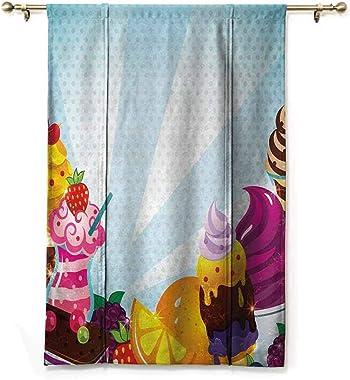 GugeABC Blackout Curtain Ice Cream Balloon Shades Window Treatment Valance Yummy Menu with Chocolate Raspberry Cherry Orange