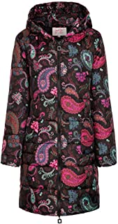 E-Scenery Womens Winter Warm Print Long Down Cotton Hooded Coat Quilted Jacket Outwear